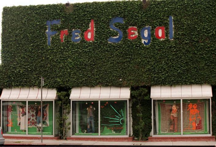 The exterior of the Fred Segal center on Melrose with its ivy-covered walls