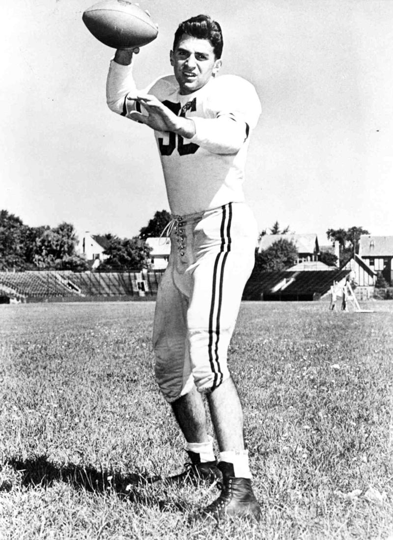 This circa 1949 publicity photo released Monday, Jan. 23, 2012 by Brown University shows the late Joe Paterno, as co-captain of the Brown football team in Providence, R.I.  Paterno, the former Penn State head football coach, died Sunday, Jan. 22, 2012. He was 85. (AP Photo/Brown University)