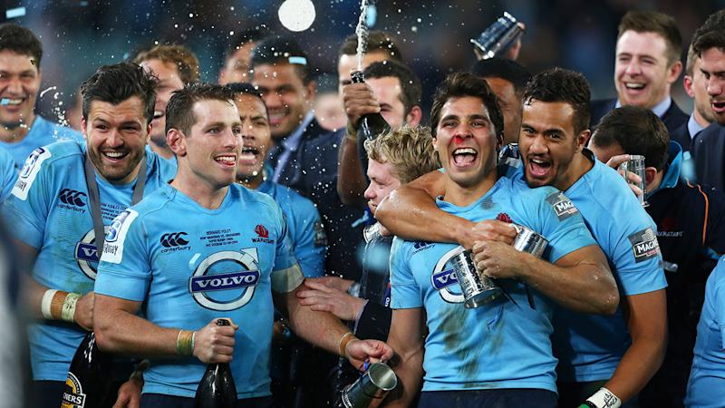 The NSW Waratahs, pictured here after winning the Super Rugby title in 2014.