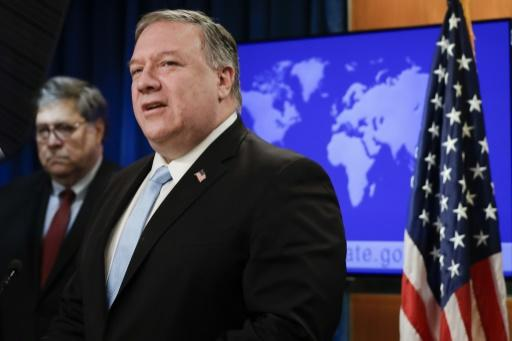US Secretary of State Mike Pompeo addresses reporters on the International Criminal Court alongside Attorney General William Barr