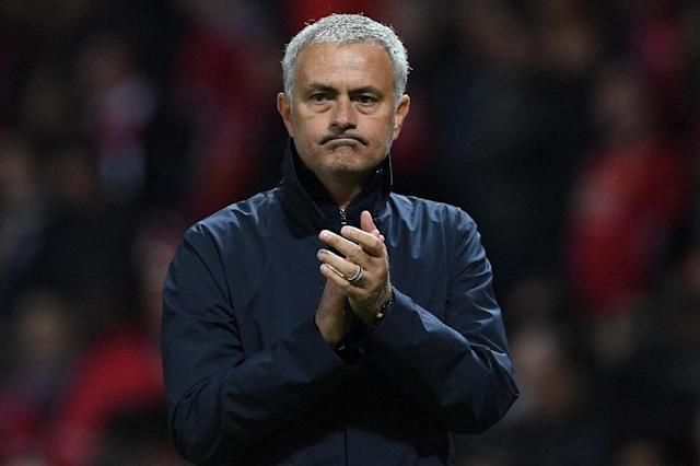 Manchester United's manager Jose Mourinho applauds the fans following the UEFA Europa League group A football match between Manchester United and Zorya Luhansk at Old Trafford stadium in Manchester, north-west England, on September 29, 2016 (AFP Photo/Paul Ellis)