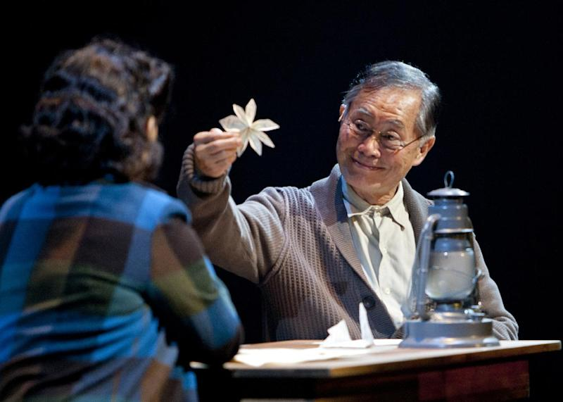 "This undated image released by The Old Globe shows actor George Takei as Ojii-san during a performance of the musical ""Allegiance,"" performing Sept. 7 - Oct. 21, 2012 at The Old Globe in San Diego. (AP Photo/The Old Globe, Henry DiRocco)"