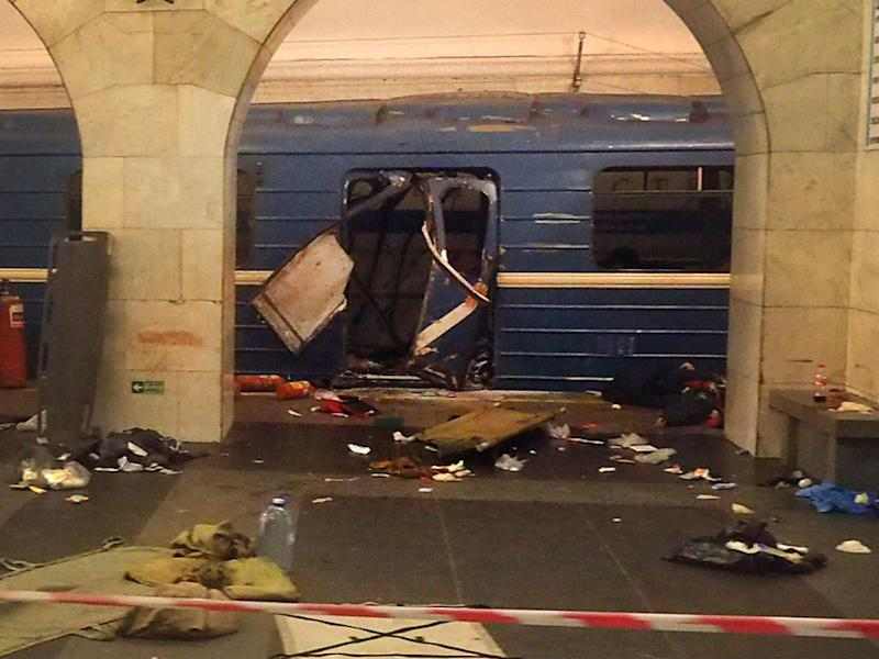 The damaged train carriage at Technological Institute metro station in Saint Petersburg after Monday's blast: Getty