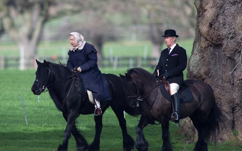 HM The Queen accompanied by her Head Groom Terry Pendry Rides along rides along the Riverbank at Windsor castle - Credit: Kelvin Bruce