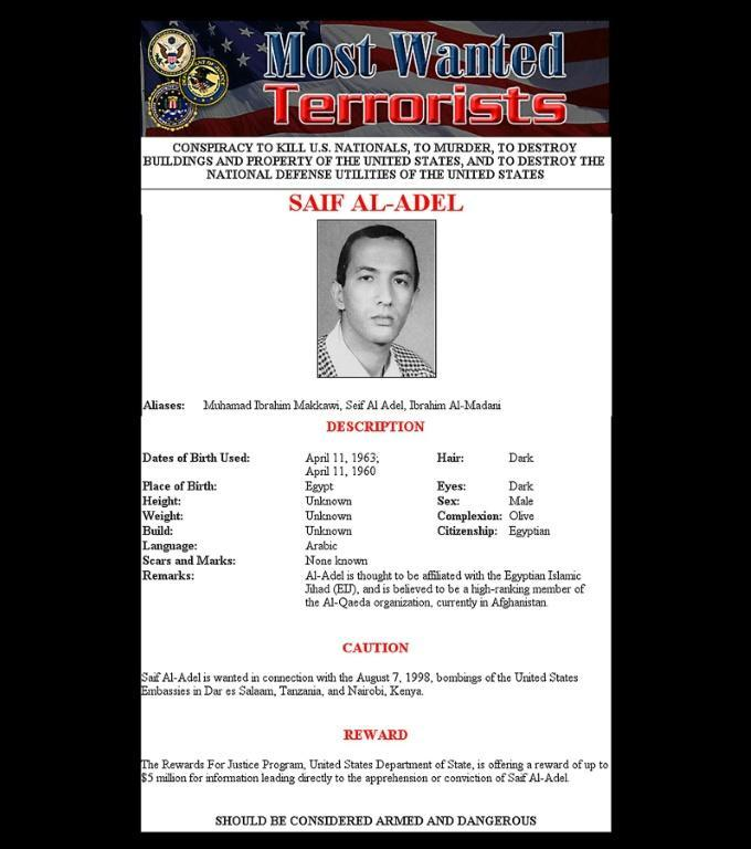 A 2001 US wanted poster for Saif Al-Adel
