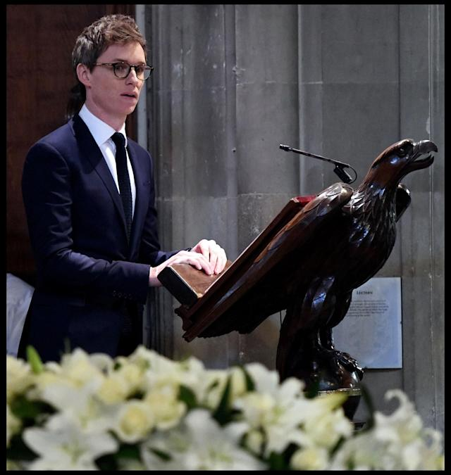 <p>Eddie Redmayne during a reading as he joins F=family and friends at the funeral of Professor Stephen Hawking at the University Church of St Mary the Great in the centre of Cambridge, England on March 31, 2018. (Photo: Andrew Parsons/i-Images via ZUMA Press) </p>
