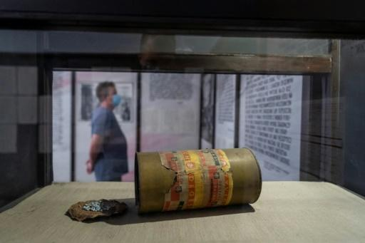 A Cyclon-B gas canister in the museum of the Stutthof former Nazi death camp