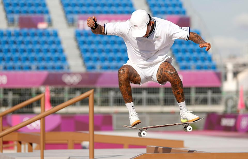 Nyjah Huston of Team United States practices on the skateboard street course ahead of the Tokyo 2020 Olympic Games.