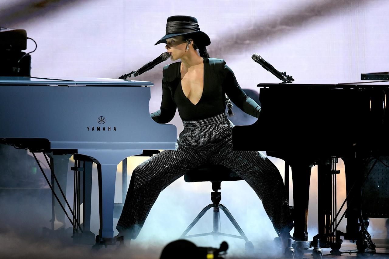 "Let's be honest, being an awards show host can be a thankless gig, but Alicia Keys proved it doesn't have to be with her heartfelt, musical hosting. Her dual piano performance midway through the ceremony stole the show, opening with her playing Scott Joplin's ""The Entertainer"" on two pianos in tribute to <a rel=""nofollow"" href=""https://www.youtube.com/watch?v=2wPZm_aWUuo"">legendary performer Hazel Scott</a>. Keys gave a shout-out to several artists, including Roberta Flack and Ella Mai, playing snippets of their songs in a segment called ""Songs I Wish I Wrote,"" before closing with her own ""Empire State of Mind."" It's a concrete hosting job, where dreams are made of."