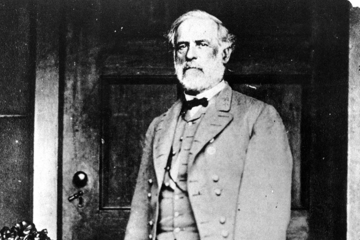 Gen. Robert E. Lee poses on the back porch of the Lee house in Richmond, Va., in 1865. Lee, who led the Confederate forces, surrendered his army at Appomattox Court House on April 9, 1865. (Photo: Mathew B. Brady/AP)