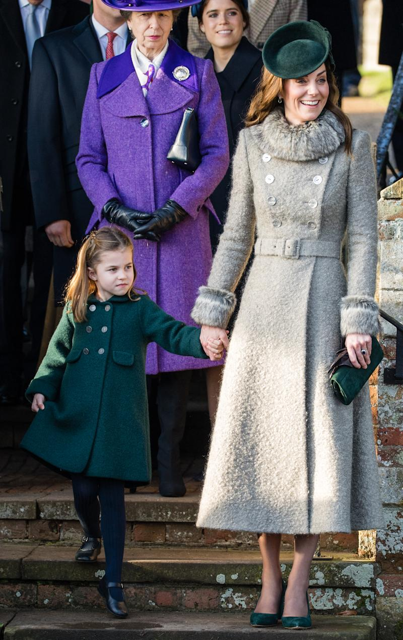 Princess Charlotte and the Duchess of Cambridge coordinated outfits on Christmas Day. [Photo: Getty]