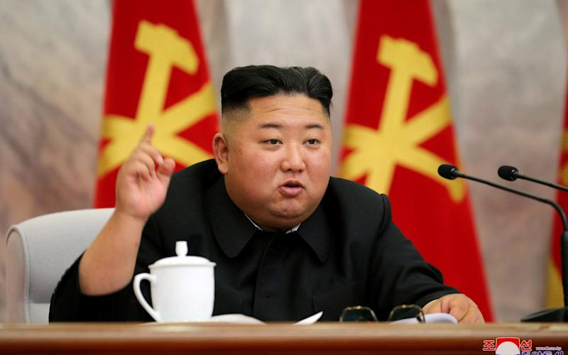 North Korean leader Kim Jong-un speaks during the conference of the Central Military Committee - KCNA