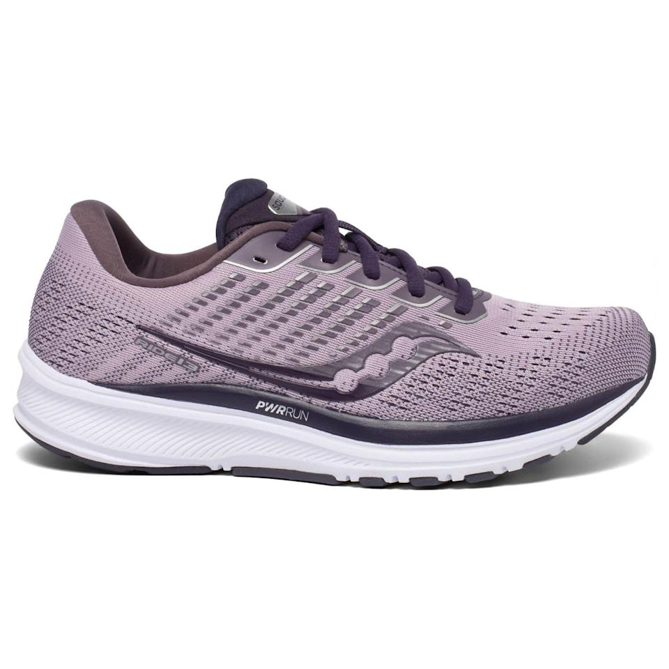 """<p><strong>Saucony</strong></p><p>rei.com</p><p><strong>$95.93</strong></p><p><a href=""""https://go.redirectingat.com?id=74968X1596630&url=https%3A%2F%2Fwww.rei.com%2Fproduct%2F178105&sref=https%3A%2F%2Fwww.prevention.com%2Ffitness%2Fworkout-clothes-gear%2Fg36533538%2Fmemorial-day-running-shoe-sale-2021%2F"""" rel=""""nofollow noopener"""" target=""""_blank"""" data-ylk=""""slk:Shop Now"""" class=""""link rapid-noclick-resp"""">Shop Now</a></p><p>For new runners, often the best way to go is a midcushioned trainer. It is lightweight and won't weigh you down, and when you start to build up some mileage, it can carry you comfortably into the double digits. The Ride 13 has a streamlined fit, and a plush heel and tongue that give you a little extra cushioning to prevent blistering. </p><p><a class=""""link rapid-noclick-resp"""" href=""""https://go.redirectingat.com?id=74968X1596630&url=https%3A%2F%2Fwww.rei.com%2Fproduct%2F178085%2Fsaucony-ride-13-road-running-shoes-mens&sref=https%3A%2F%2Fwww.prevention.com%2Ffitness%2Fworkout-clothes-gear%2Fg36533538%2Fmemorial-day-running-shoe-sale-2021%2F"""" rel=""""nofollow noopener"""" target=""""_blank"""" data-ylk=""""slk:Buy Men's"""">Buy Men's </a></p>"""