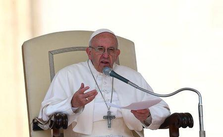 Pope Francis speaks during his Wednesday general audience in Saint Peter's square at the Vatican