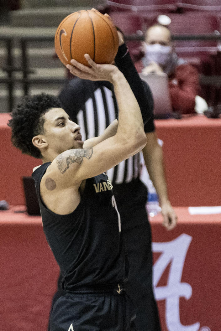 Vanderbilt guard Scotty Pippen Jr. (2) shoots a jumper against Alabama during the first half of an NCAA basketball game on Saturday, Feb. 20, 2021, in Tuscaloosa, Ala. (AP Photo/Vasha Hunt)