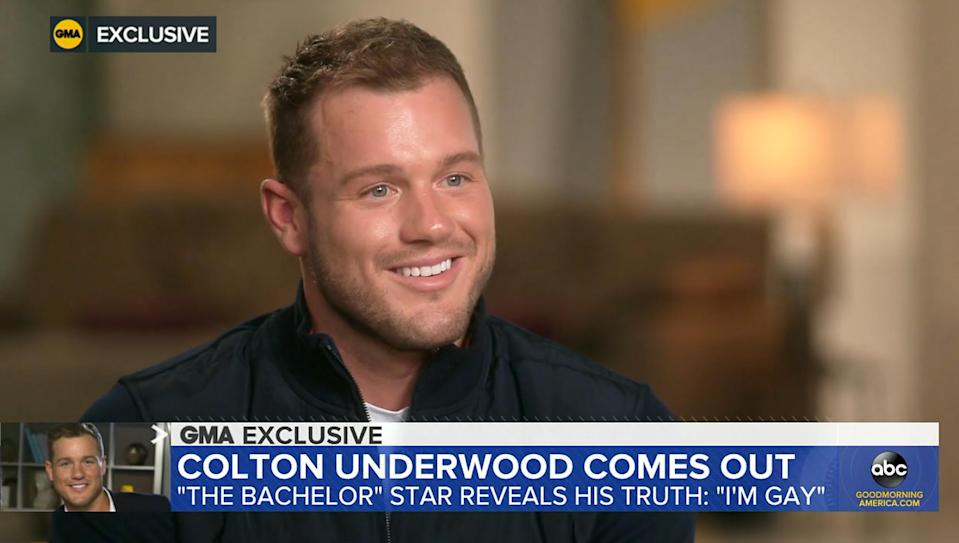 """<p>After taking a short hiatus from the public eye, Underwood joined Robin Roberts on <a href=""""https://www.goodmorningamerica.com/culture/story/bachelor-star-colton-underwood-gay-77057551"""" rel=""""nofollow noopener"""" target=""""_blank"""" data-ylk=""""slk:Good Morning America"""" class=""""link rapid-noclick-resp""""><em>Good Morning America</em></a> in an interview that aired on April 14 <a href=""""https://people.com/tv/bachelor-colton-underwood-comes-out-as-gay/"""" rel=""""nofollow noopener"""" target=""""_blank"""" data-ylk=""""slk:to announce that he is gay"""" class=""""link rapid-noclick-resp"""">to announce that he is gay</a>. During the personal conversation, titled """"Colton Underwood: In His Own Words,"""" the former Bachelor said he """"came to terms"""" with his sexuality earlier in 2021 after a long period of self-reflection.</p> <p>""""I've ran from myself for a long time. I've hated myself for a long time, and I'm gay. And I came to terms with that earlier this year and have been processing it,"""" Underwood said. """"The next step in all of this was letting people know. I'm still nervous. It's been a journey, for sure.""""</p> <p>""""I'm emotional, but in such a good, happy, positive way,"""" he added. """"I'm the happiest and healthiest I've ever been in my life, and that means the world to me.""""</p>"""