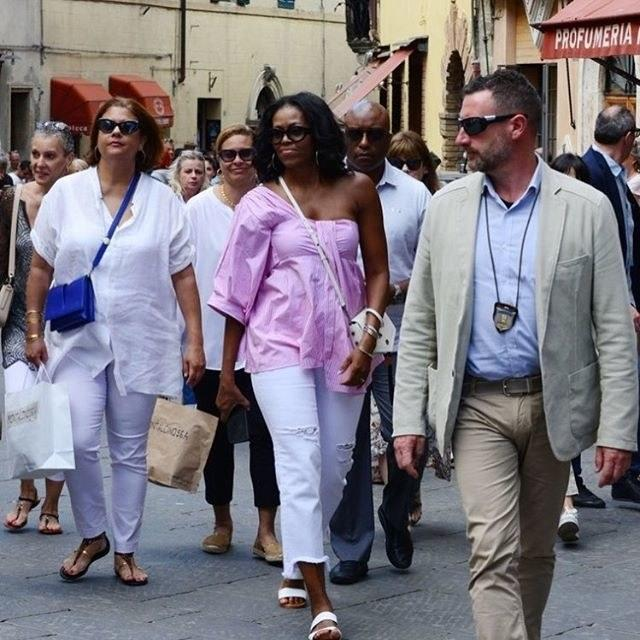 """Teija Eilola had already been planning to party in honor the five-year anniversary of her eponymous brand Teija this month when Obama brought another cause for celebration: She wore an eye-catching, one-shouldered top by Teija while sampling gelato and otherwise wandering around the small town of Montalcino, Italy with her husband Barack. Before that, Eilola, who trained under Christopher Bailey at Burberry, had no idea Obama owned one of her pieces, but she's definitely embracing the attention—and already referring to it as her """"Michelle Obama moment."""""""