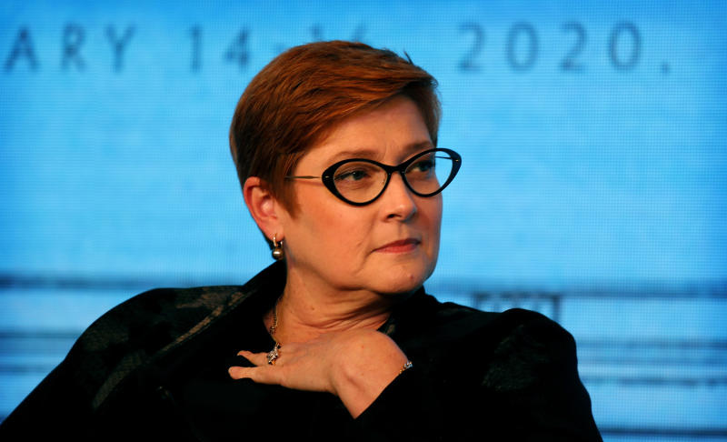 Australian Foreign Minister Marise Payne shares her views at a panel discussion during Raisina Dialogue, a global conference in New Delhi, India, Thursday, Jan. 16, 2020. (AP Photo/Manish Swarup)