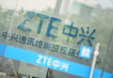 Sign of ZTE Corp is pictured at its service centre in Hangzhou