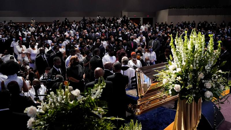 A funeral for George Floyd is under way at The Fountain of Praise church in Houston, Texas