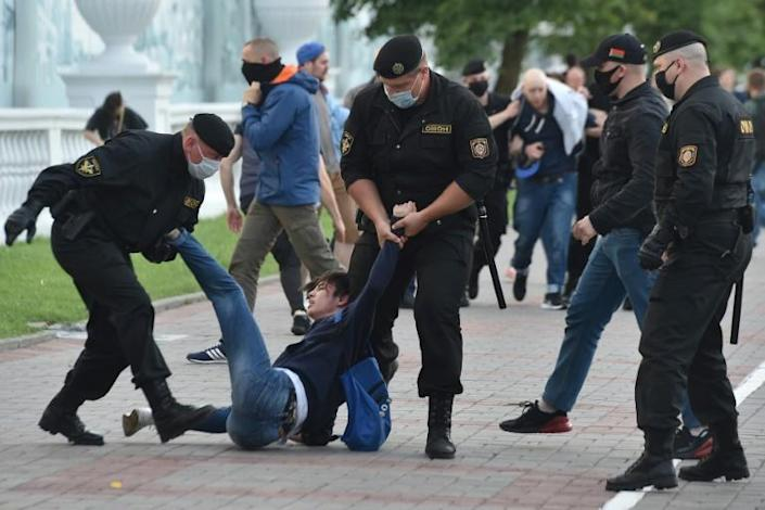 Belarus police said they have detained more than 250 people across the country after protests over the banning of several opposition candidates from the presidential election (AFP Photo/Sergei GAPON )