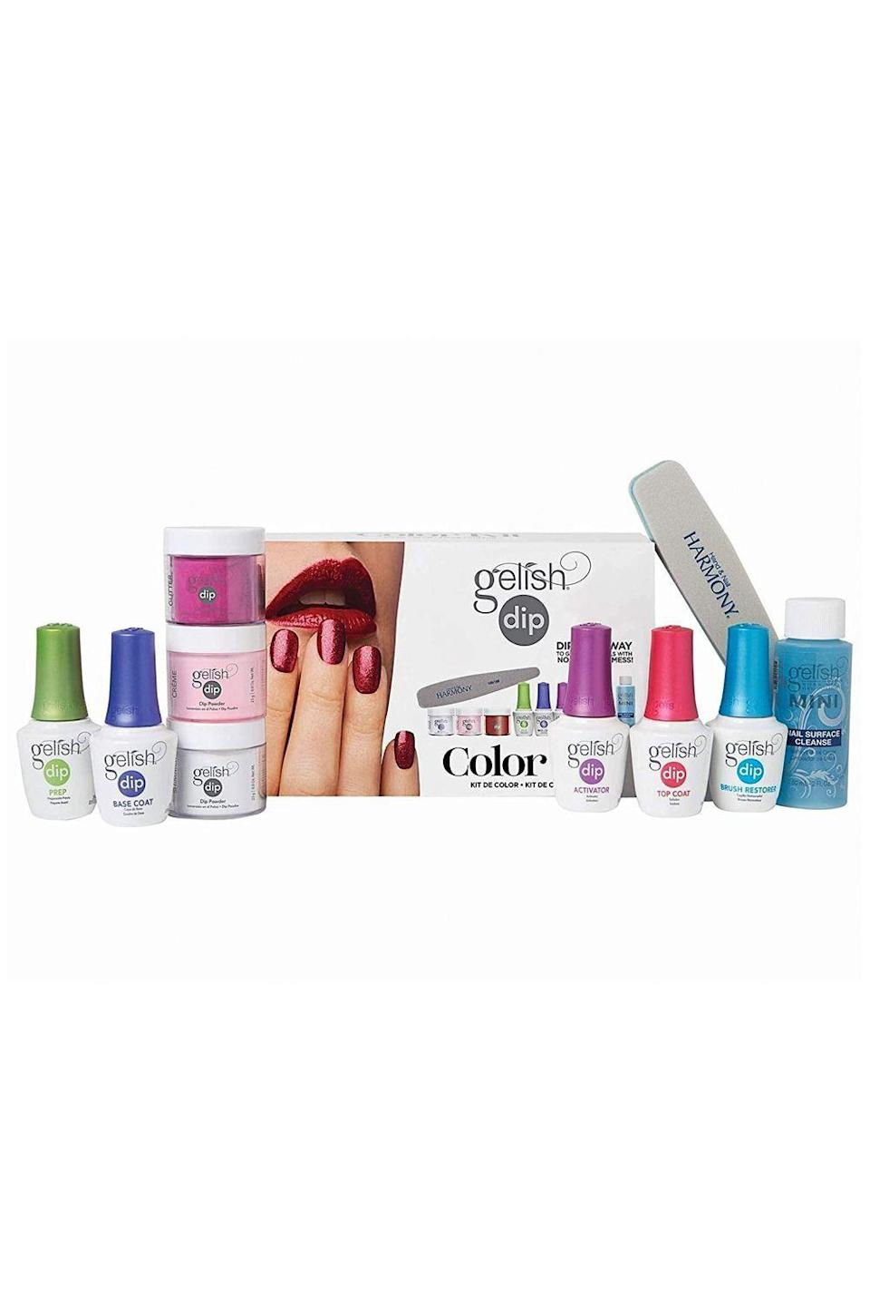 """<p><strong>Gelish</strong></p><p>amazon.com</p><p><strong>$109.99</strong></p><p><a href=""""https://www.amazon.com/dp/B073BRZNDG?tag=syn-yahoo-20&ascsubtag=%5Bartid%7C10049.g.31817042%5Bsrc%7Cyahoo-us"""" rel=""""nofollow noopener"""" target=""""_blank"""" data-ylk=""""slk:Shop Now"""" class=""""link rapid-noclick-resp"""">Shop Now</a></p><p>NGL, when it comes to the finish, dip powder manicures lean more matte than super shiny. If that's not your vibe anyways, you'll love this at-home dip powder kit. <strong>The <a href=""""https://www.cosmopolitan.com/style-beauty/beauty/g29548552/best-top-coat-nail-polish/"""" rel=""""nofollow noopener"""" target=""""_blank"""" data-ylk=""""slk:top coat formula"""" class=""""link rapid-noclick-resp"""">top coat formula</a> leaves behind an extra-shiny finish, </strong>just like the manis you used to get at the salon.<br></p>"""