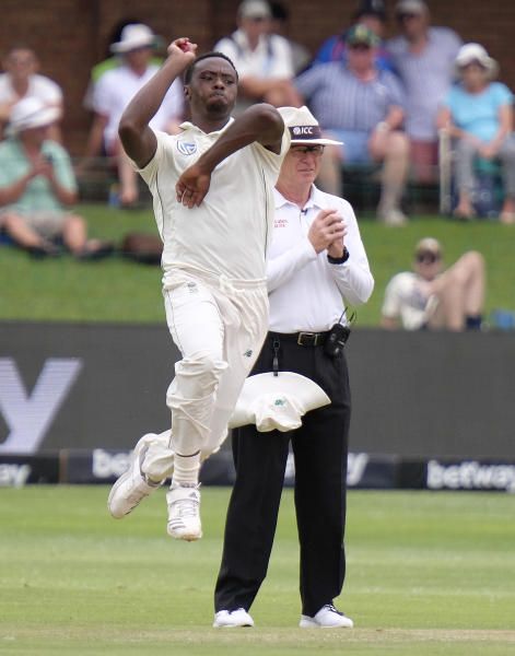 Kagiso Rabada of South Africa bowls on day two of the third cricket test between South Africa and England in Port Elizabeth, South Africa, Friday, Jan. 17, 2020. (AP Photo/Michael Sheehan)