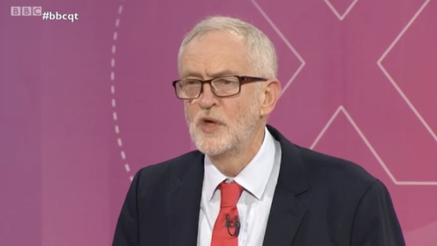Jeremy Corbyn took a question from an angry audience member. (BBC)
