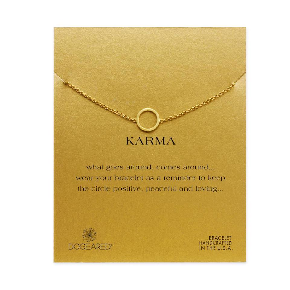 "<p>This bracelet is a) low-key gorgeous and b) will help any yogi remember to stay positive and in the moment. <br></p><p>$62 at <a href=""http://www.dogeared.com/small-karma-circle-bracelet%2C-gold-dipped/844923061997.html#start=1"" rel=""nofollow noopener"" target=""_blank"" data-ylk=""slk:Dogeared"" class=""link rapid-noclick-resp"">Dogeared</a></p>"