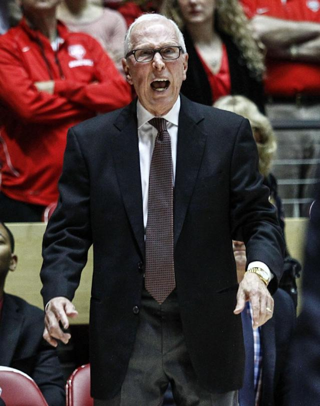 San Diego State coach Steve Fisher shouts to his players during the first half of an NCAA college basketball game against New Mexico at The Pit in Albuquerque, N.M., Saturday, Feb. 22, 2014. (AP Photo/Juan Antonio Labreche)
