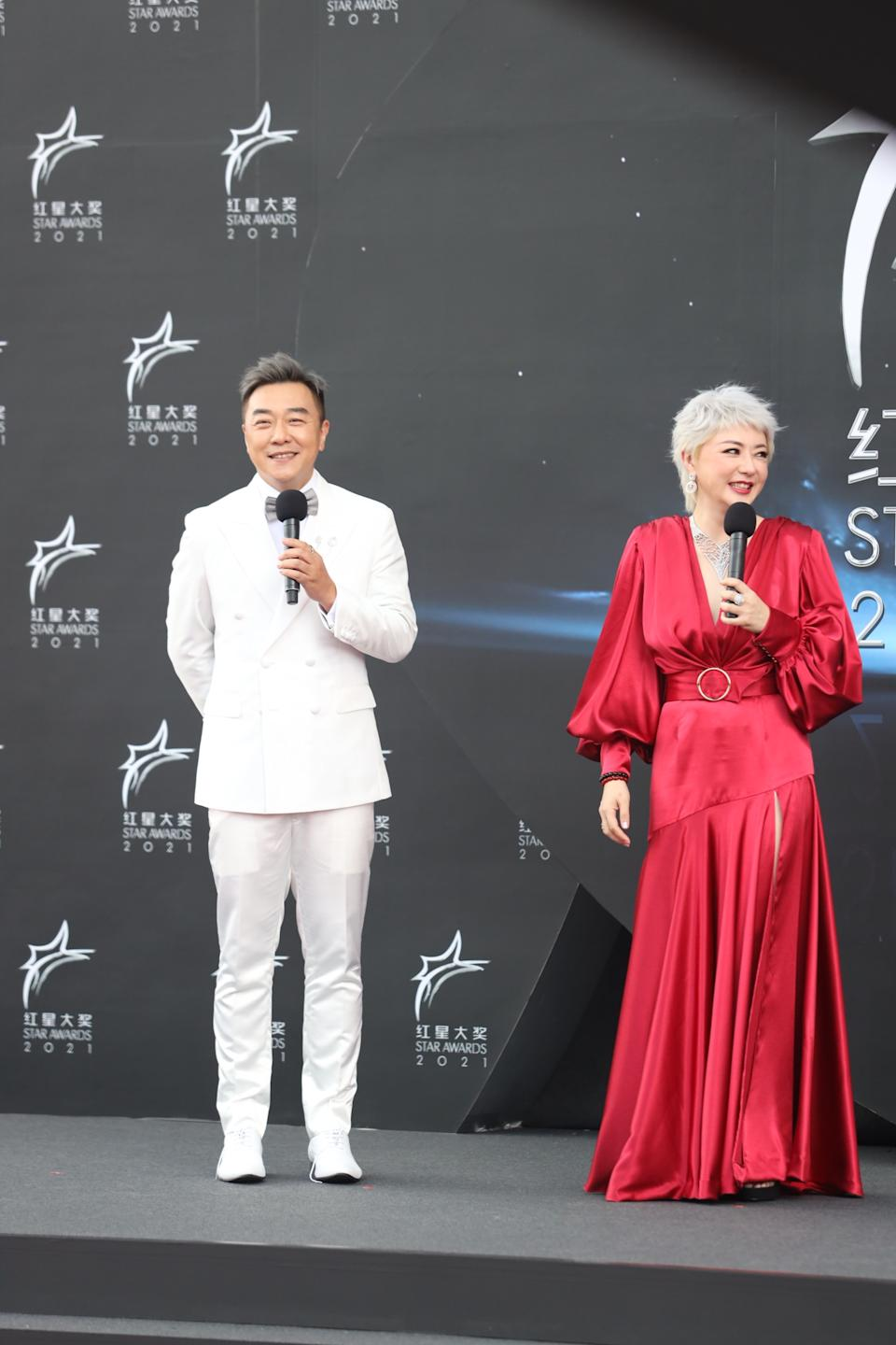Guo Liang and Quan Yi Fong at Star Awards held at Changi Airport on 18 April 2021. (Photo: Mediacorp)