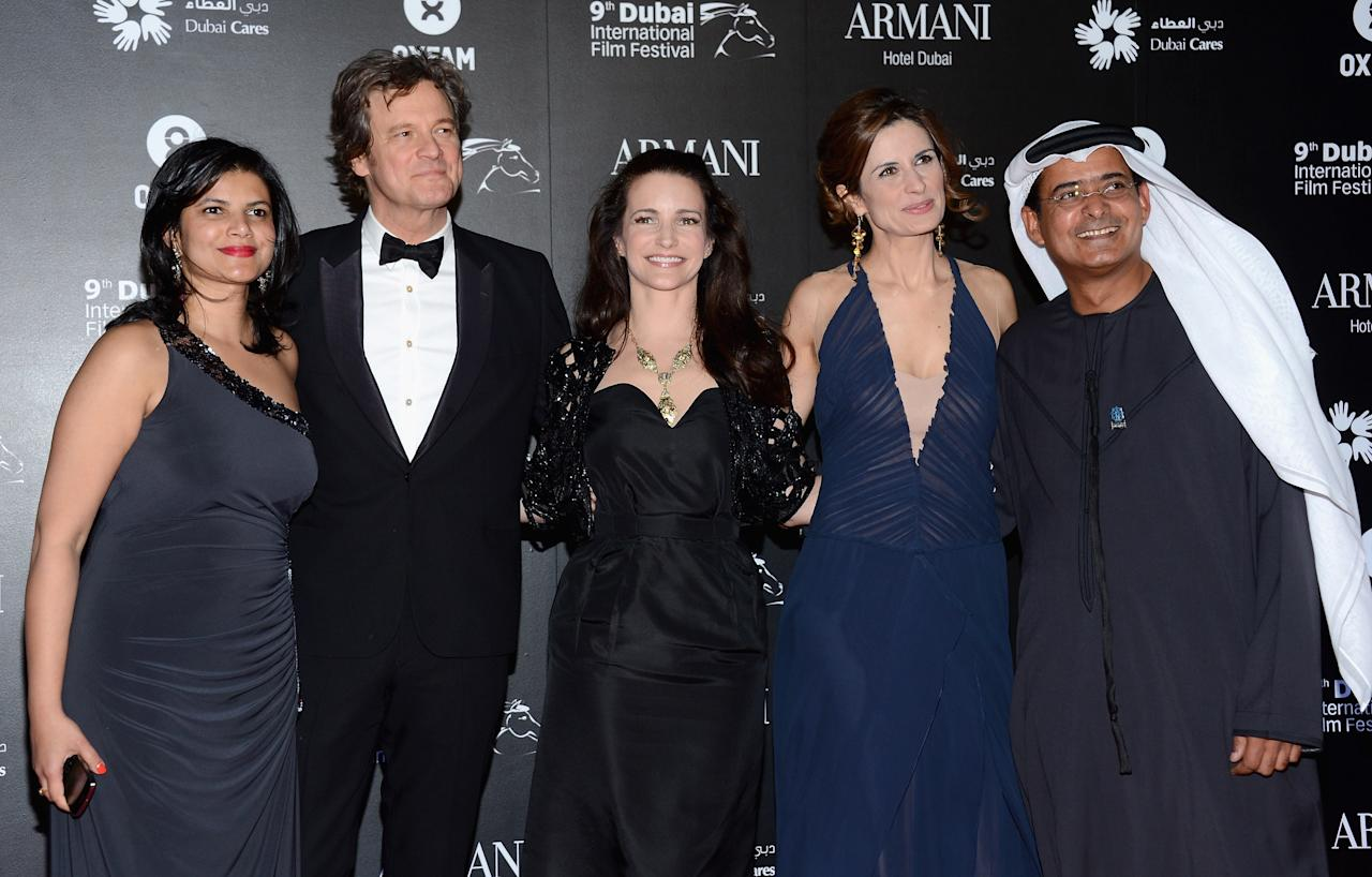 "DUBAI, UNITED ARAB EMIRATES - DECEMBER 14:  Managing Director of DIFF Shivani Pandya, actors Colin Firth, Kirstin Davis, Livia Firth and DIFF Chairman Abdulhamid Juma attend the 2012 Dubai International Film Festival, Dubai Cares and Oxfam ""One Night to Change Lives"" Charity Gala at the Armani Hotel on December 14, 2012 in Dubai, United Arab Emirates.  (Photo by Andrew H. Walker/Getty Images for DIFF)"