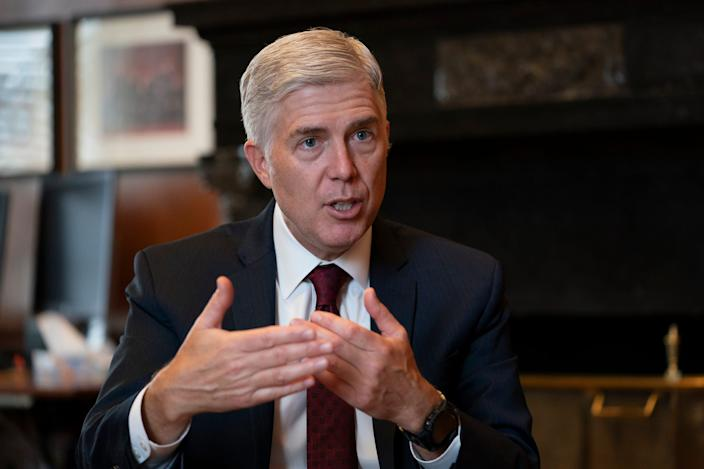 "In this Sept. 4, 2019 file photo, Justice Neil Gorsuch, speaks during an interview in his chambers at the Supreme Court in Washington. <p class=""copyright"">Associated Press/J. Scott Applewhite</p>"