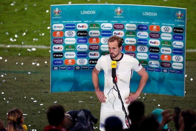 Harry Kane faced the media after the shootout