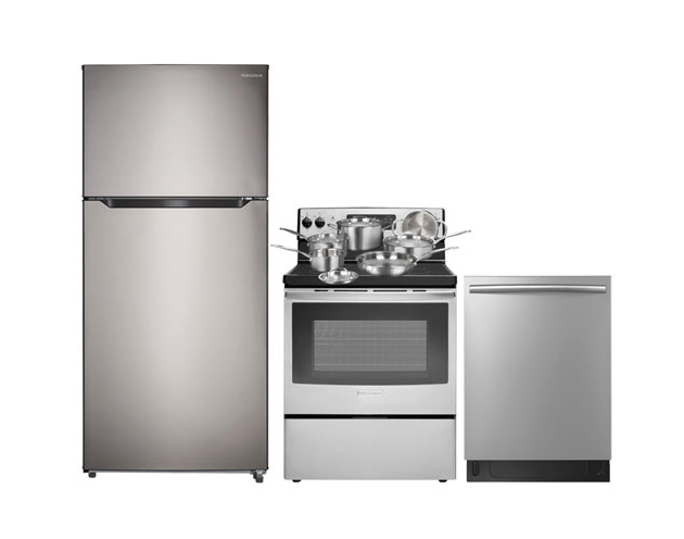 "Insignia 30"" 18 Cu. Ft. Top Freezer Refrigerator; Electric Range; Dishwasher; Cookware Set. Image via Best Buy."