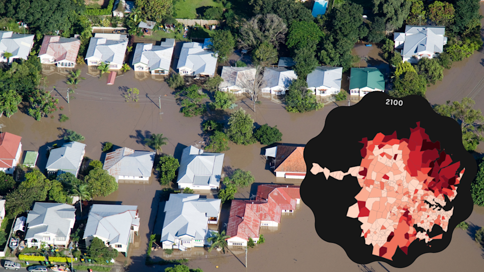 Left: Flooding in Brisbane; Right: What Sydney areas would have the highest insurance premiums in 2100. (Source: Getty; ABC/Climate Risk)
