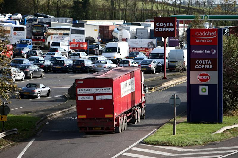 A general view of the sliproad into Watford Gap services on the M1 motorway, as the 50th anniversary of the opening of the motorway is marked. (Photo by David Jones/PA Images via Getty Images)