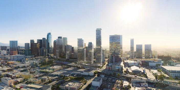 """A rendering of a multi-tower complex designed by Skidmore, Owings & Merrill for downtown Los Angeles. Concerns over COVID-19 may affect how tower ventilation systems are designed. <span class=""""copyright"""">(SOM)</span>"""