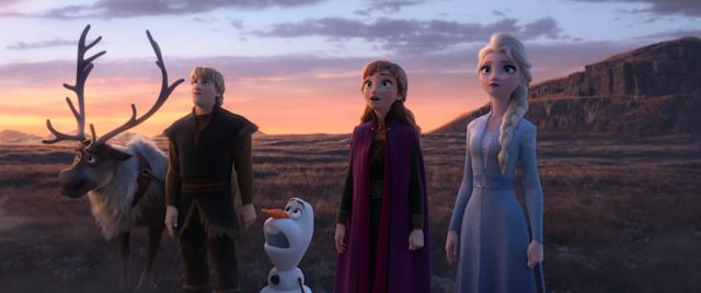 In Frozen 2, Elsa, Anna, Kristoff, Olaf and Sven journey far beyond the gates of Arendelle in search of answers. (© 2019 Disney. All Rights Reserved.)