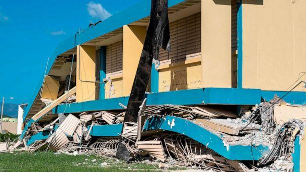 PHOTO: The Agripina Seda school is seen destroyed after an earthquake hit the island in Guanica, Puerto Rico, Jan. 11, 2020. (AFP via Getty Images)