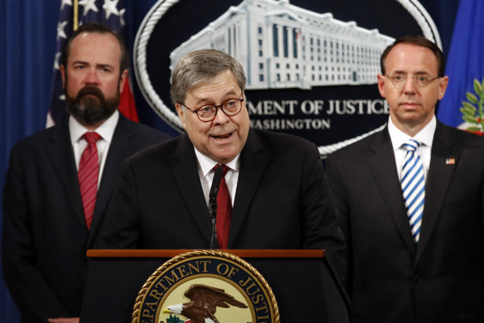 Attorney General William Barr speaks about the release of a redacted version of special counsel Robert Mueller's report during a news conference, April 18, 2019. (ASSOCIATED PRESS)