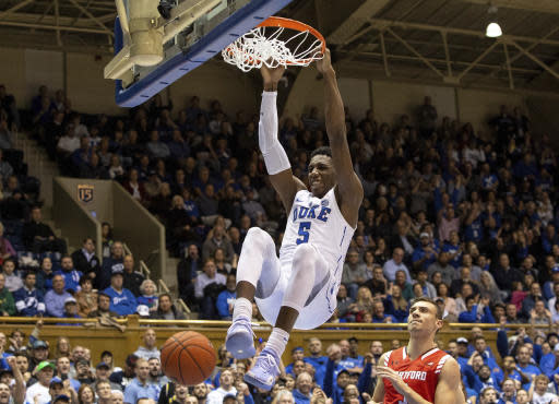 Duke's RJ Barrett (5) finishes a dunk during the second half of an NCAA college basketball game against Hartford in Durham, N.C., Wednesday, Dec. 5, 2018. (AP Photo/Ben McKeown)
