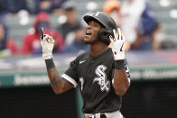 Chicago White Sox's Tim Anderson celebrates after hitting a three-run home run in the second inning in the first baseball game of a doubleheader against the Cleveland Indians, Thursday, Sept. 23, 2021, in Cleveland. (AP Photo/Tony Dejak)