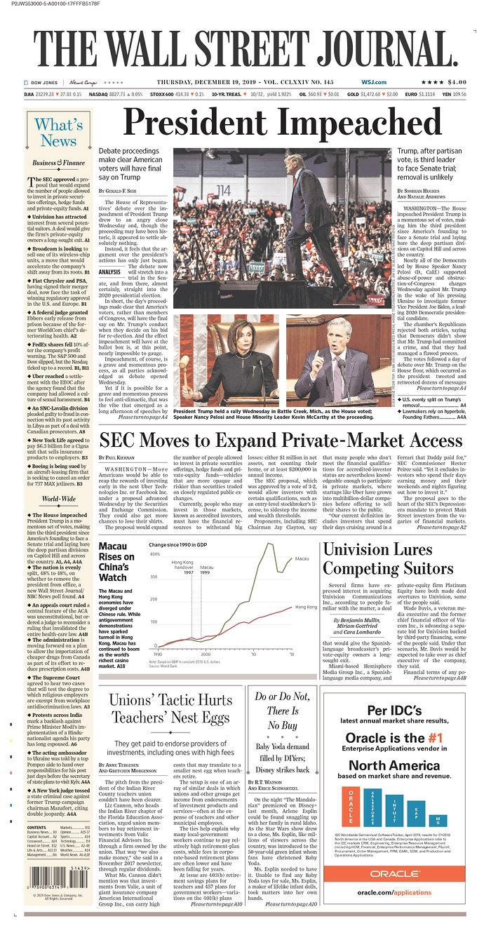 The front page of Thursday's Wall Street Journal. (Newseum.org)