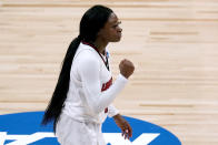Louisville guard Dana Evans celebrates after making a basket during the second half of a college basketball game against Northwestern in the second round of the women's NCAA tournament at the Alamodome in San Antonio, Wednesday, March 24, 2021. (AP Photo/Charlie Riedel)