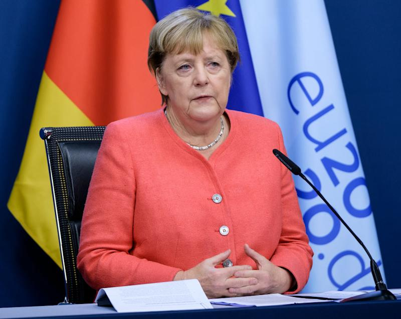 BRUSSELS, BELGIUM - OCTOBER 2: German Chancellor Angela Merkel is talking to a media at the end of the second day of an EU Chief of State Summit in the Justus Lipsius building, the EU Council headquarter on October 2, 2020, in Brussels, Belgium. (Photo by Thierry Monasse/Getty Images)