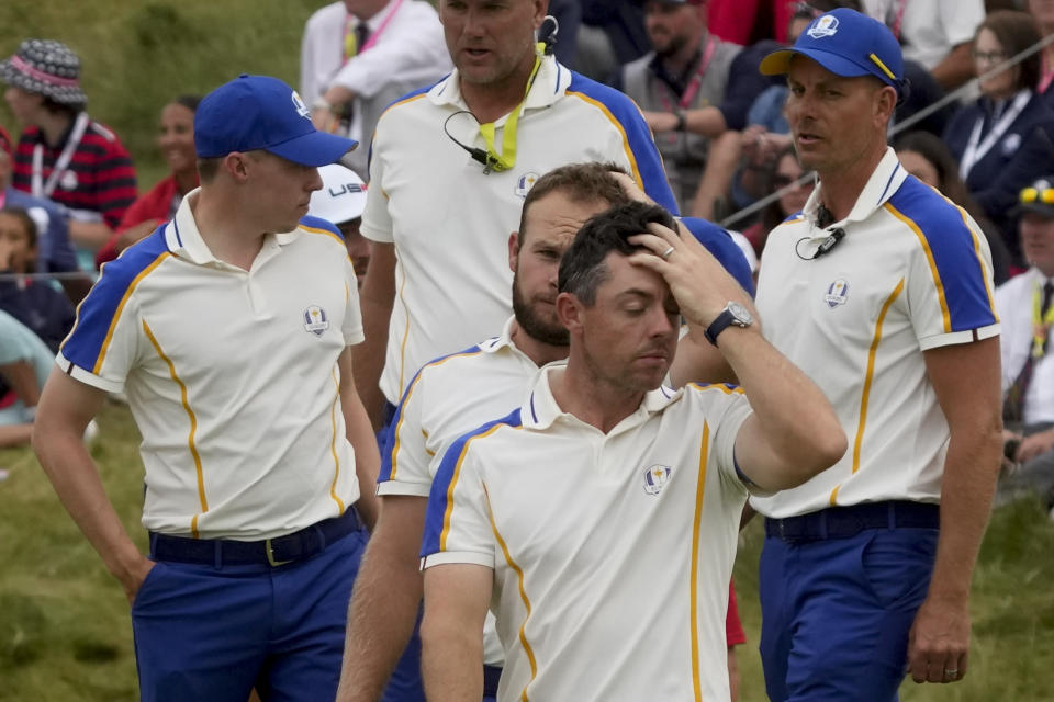 Team Europe's Rory McIlroy reacts after their loss to Team USA during the Ryder Cup at the Whistling Straits Golf Course Sunday, Sept. 26, 2021, in Sheboygan, Wis. (AP Photo/Charlie Neibergall)