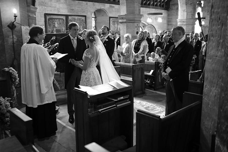 A very special moment reading our vows to one another in St. Michael and All Angels, the small church in nearby Withyham steeped in history and charm. The church was my favorite part of the day.