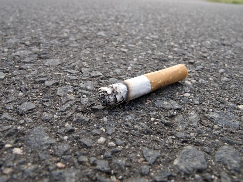 Close up with selective focus on cigarette