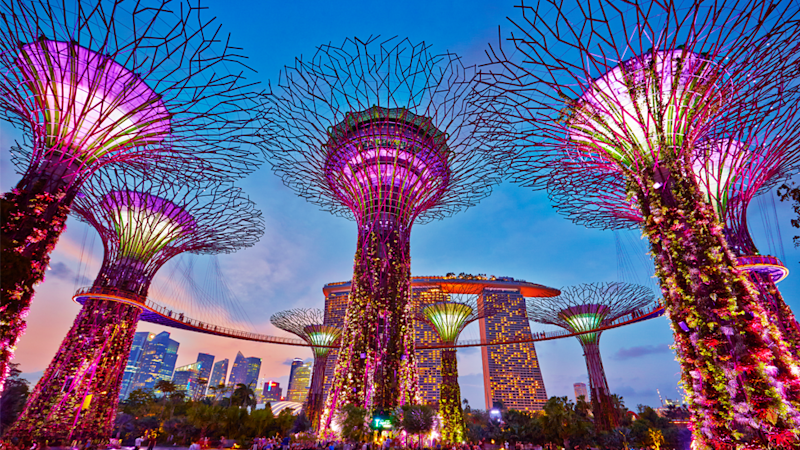 Every evening the 18 trees in the Supergrove section come to life after dark during the Garden Rhapsody Sound & Light show. Source: Singapore Tourism Board, The ultimate Crazy Rich Asians guide to Singapore